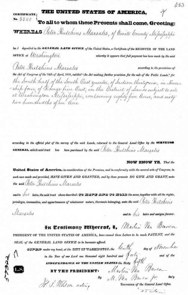 Peter H. Marsalis 1840 land grant