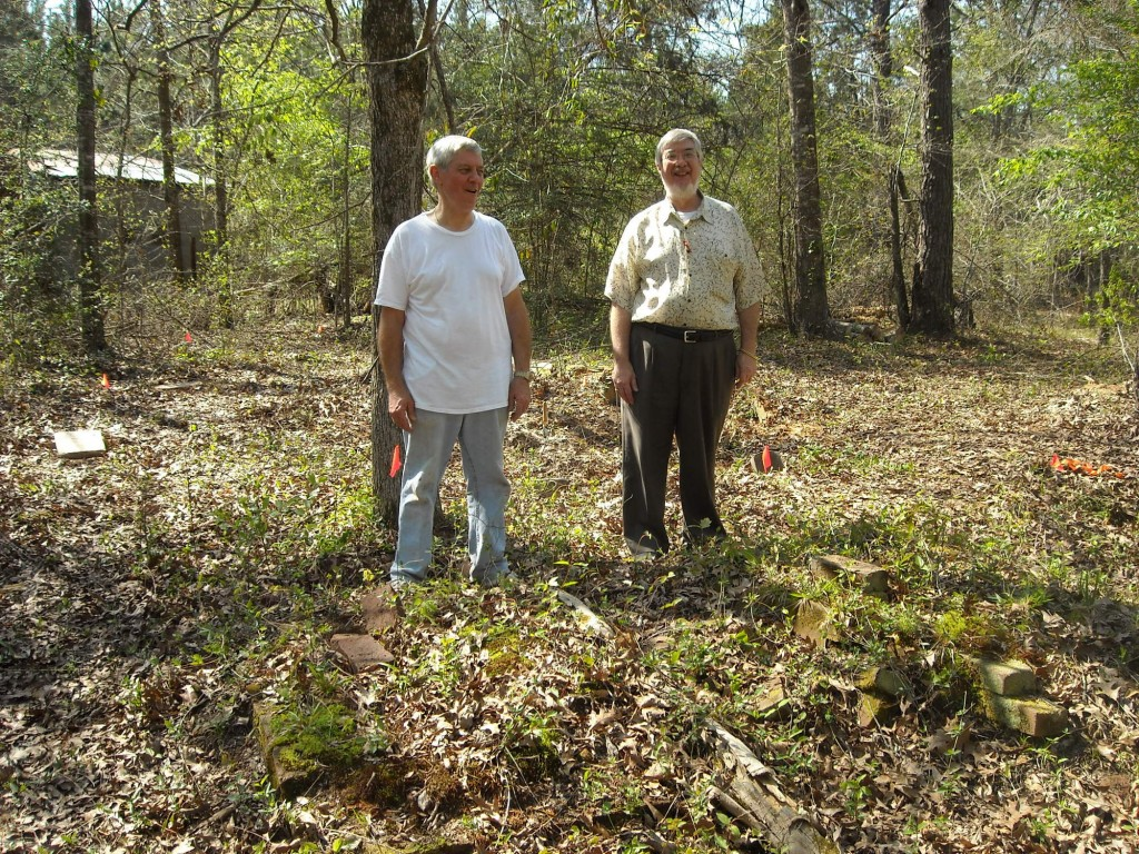 This is a photo of Bill Marsalis and Tommy Wixon at the tombs of Peter & Polly Marsalis on March 20th 2009